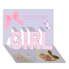 GIRL 3D Greeting Card (7x5)