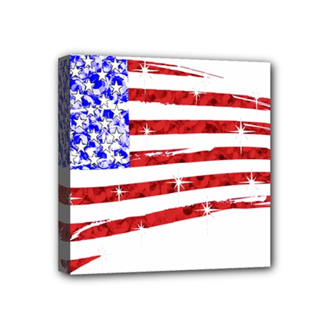 Sparkling American Flag 4  X 4  Framed Canvas Print by artattack4all