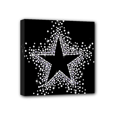 Sparkling Bling Star Cluster 4  X 4  Framed Canvas Print by artattack4all