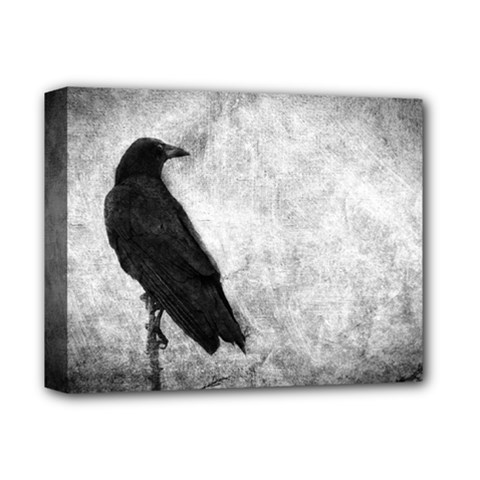 Black Crow Deluxe Canvas 14  X 11  (stretched) by heathergreen