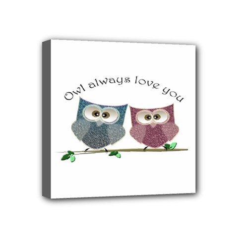 Owl Always Love You, Cute Owls 4  X 4  Framed Canvas Print by DigitalArtDesgins