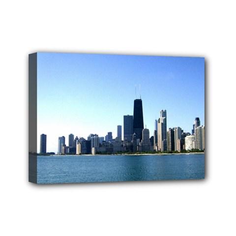 Chicago Skyline Mini Canvas 7  X 5  (framed) by canvasngiftshop