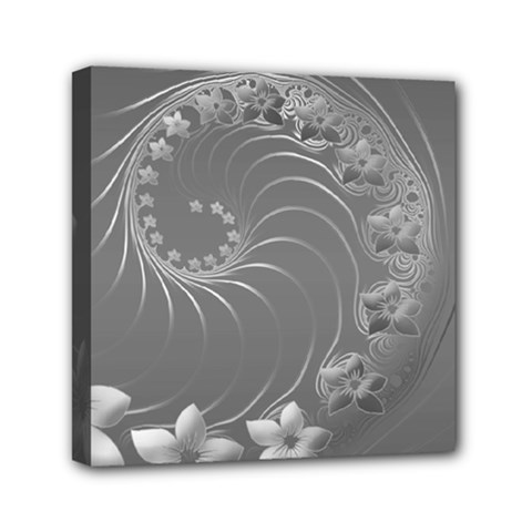 Gray Abstract Flowers Mini Canvas 6  X 6  (framed)
