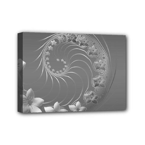 Gray Abstract Flowers Mini Canvas 7  X 5  (framed) by BestCustomGiftsForYou