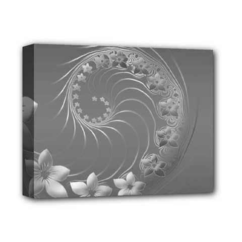 Gray Abstract Flowers Deluxe Canvas 14  X 11  (framed) by BestCustomGiftsForYou