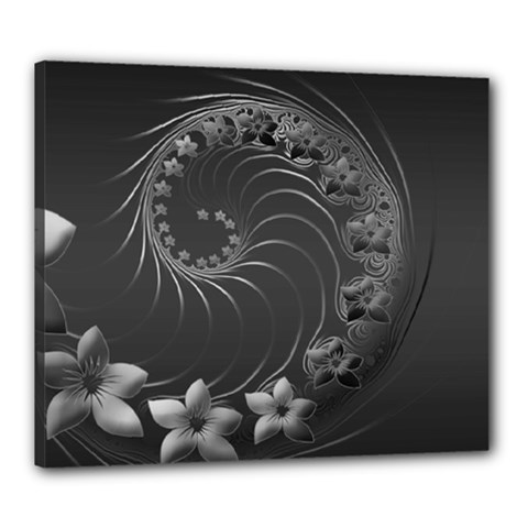 Dark Gray Abstract Flowers Canvas 24  X 20  (framed) by BestCustomGiftsForYou