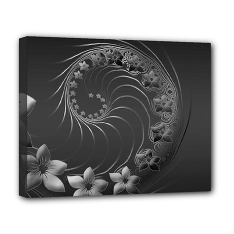 Dark Gray Abstract Flowers Deluxe Canvas 20  X 16  (framed) by BestCustomGiftsForYou