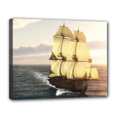 French Warship Canvas 14  x 11  (Framed) by gatterwe