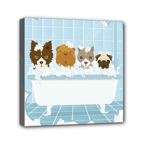 Dogs In Bath Mini Canvas 6  X 6  (framed) by cutepetshop