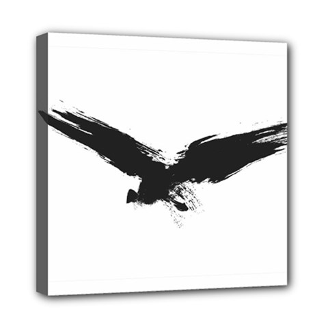Grunge Bird Mini Canvas 8  X 8  (framed) by magann