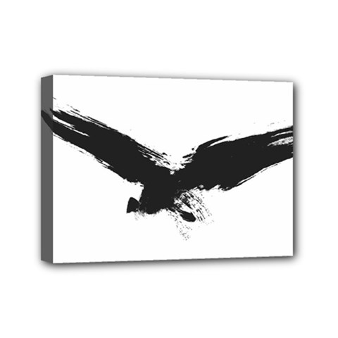 Grunge Bird Mini Canvas 7  X 5  (framed) by magann