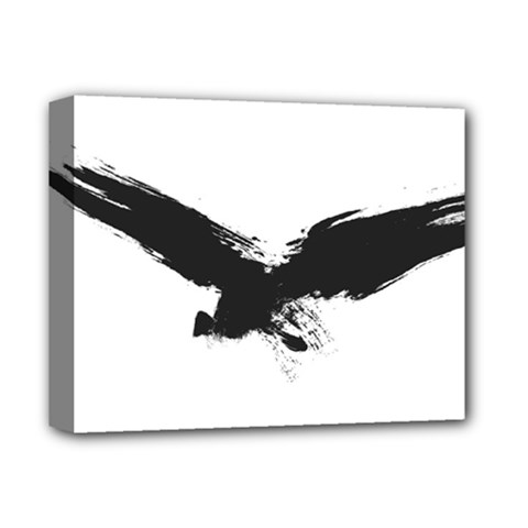 Grunge Bird Deluxe Canvas 14  X 11  (framed) by magann