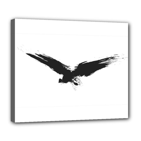 Grunge Bird Deluxe Canvas 24  X 20  (framed) by magann