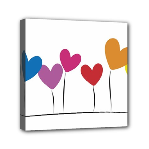 Heart Flowers Mini Canvas 6  X 6  (framed) by magann