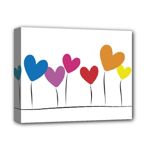 Heart Flowers Deluxe Canvas 14  X 11  (framed) by magann