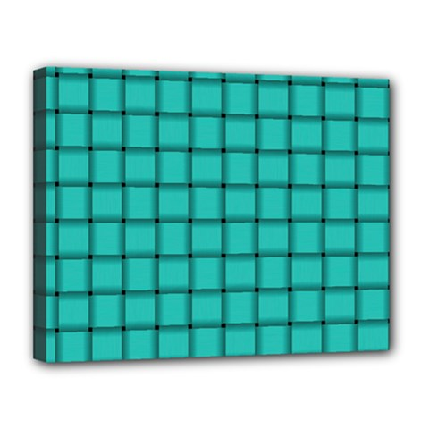 Turquoise Weave Canvas 14  X 11  (framed) by BestCustomGiftsForYou