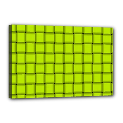 Fluorescent Yellow Weave Canvas 18  x 12  (Framed)