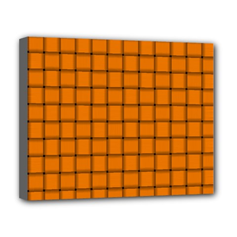 Orange Weave Deluxe Canvas 20  X 16  (framed) by BestCustomGiftsForYou