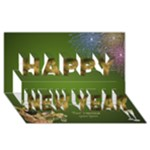 Green and Gold New Year 3D Card - Happy New Year 3D Greeting Card (8x4)