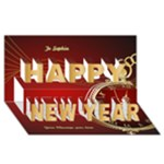 Red Time Happy New Year 3D Card - Happy New Year 3D Greeting Card (8x4)