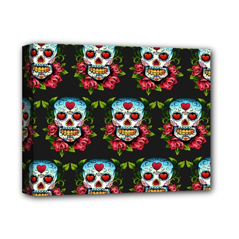 Sugar Skull Deluxe Canvas 14  x 11  (Framed) by EndlessVintage