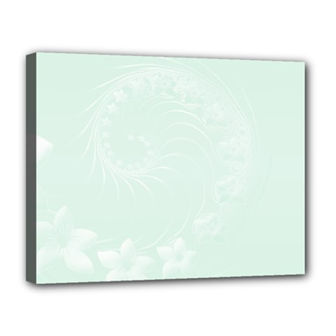 Pastel Green Abstract Flowers Canvas 14  X 11  (framed) by BestCustomGiftsForYou
