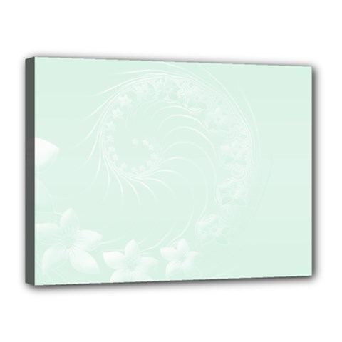 Pastel Green Abstract Flowers Canvas 16  X 12  (framed) by BestCustomGiftsForYou