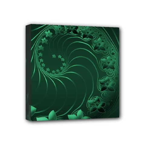 Dark Green Abstract Flowers Mini Canvas 4  X 4  (framed) by BestCustomGiftsForYou