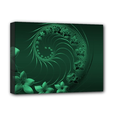 Dark Green Abstract Flowers Deluxe Canvas 16  X 12  (framed)  by BestCustomGiftsForYou