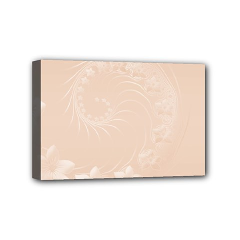 Pastel Brown Abstract Flowers Mini Canvas 6  X 4  (framed) by BestCustomGiftsForYou