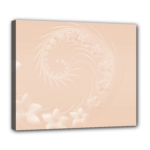 Pastel Brown Abstract Flowers Deluxe Canvas 24  X 20  (framed) by BestCustomGiftsForYou