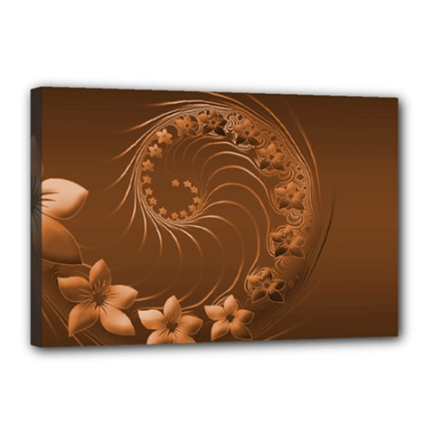 Brown Abstract Flowers Canvas 18  X 12  (framed) by BestCustomGiftsForYou