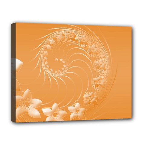 Orange Abstract Flowers Canvas 14  X 11  (framed) by BestCustomGiftsForYou