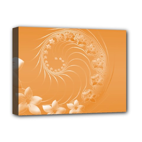 Orange Abstract Flowers Deluxe Canvas 16  X 12  (framed)  by BestCustomGiftsForYou