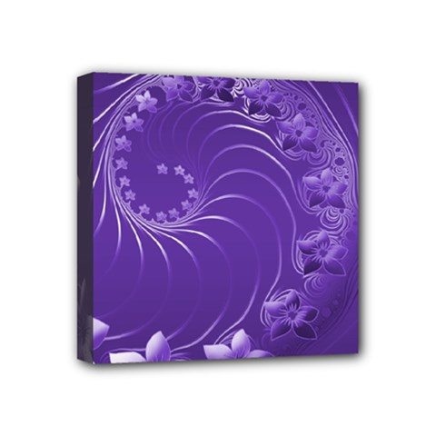 Violet Abstract Flowers Mini Canvas 4  X 4  (framed) by BestCustomGiftsForYou