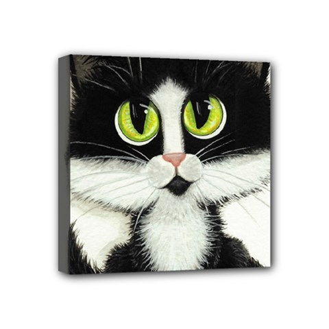 Tuxedo Cat By Bihrle Mini Canvas 4  X 4  (framed) by AmyLynBihrle
