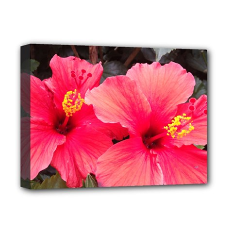 Red Hibiscus Deluxe Canvas 16  X 12  (framed)  by ADIStyle