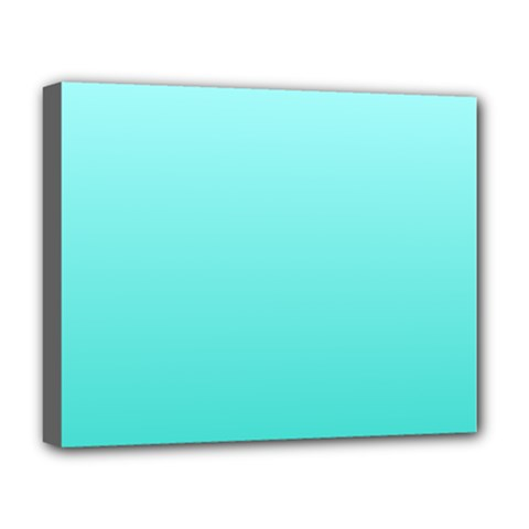 Celeste To Turquoise Gradient Deluxe Canvas 20  X 16  (framed) by BestCustomGiftsForYou