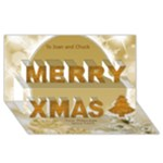 Snowflake Gold Christmas 3D Card - Merry Xmas 3D Greeting Card (8x4)