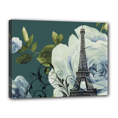 Blue Roses Vintage Paris Eiffel Tower Floral Fashion Decor Canvas 16  X 12  (framed) by chicelegantboutique