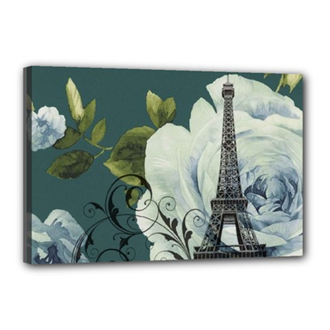 Blue Roses Vintage Paris Eiffel Tower Floral Fashion Decor Canvas 18  X 12  (framed) by chicelegantboutique