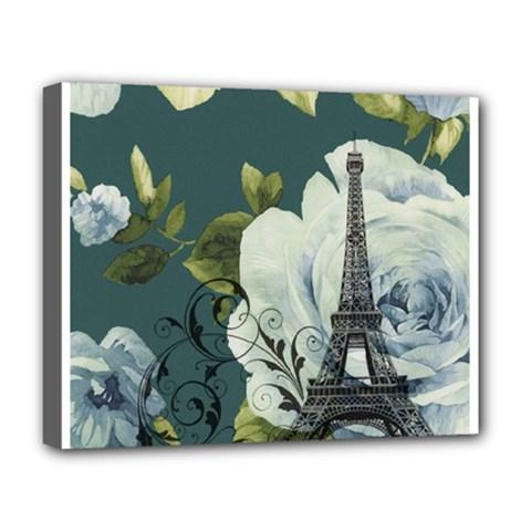Blue Roses Vintage Paris Eiffel Tower Floral Fashion Decor Deluxe Canvas 20  X 16  (framed) by chicelegantboutique