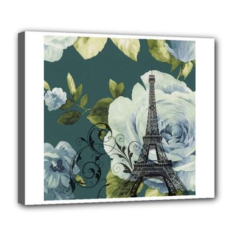 Blue Roses Vintage Paris Eiffel Tower Floral Fashion Decor Deluxe Canvas 24  X 20  (framed) by chicelegantboutique