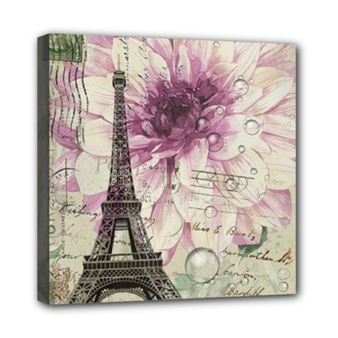 Purple Floral Vintage Paris Eiffel Tower Art Mini Canvas 8  X 8  (framed) by chicelegantboutique