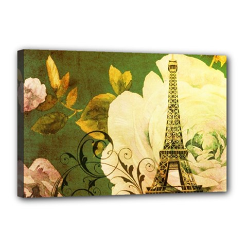 Floral Eiffel Tower Vintage French Paris Canvas 18  X 12  (framed) by chicelegantboutique