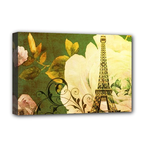 Floral Eiffel Tower Vintage French Paris Deluxe Canvas 18  X 12  (framed) by chicelegantboutique