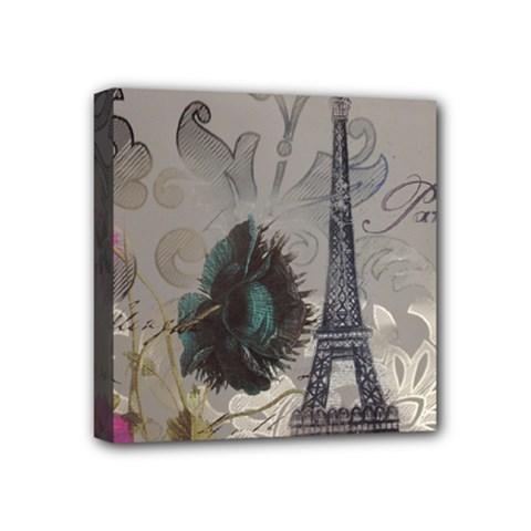 Floral Vintage Paris Eiffel Tower Art Mini Canvas 4  X 4  (framed) by chicelegantboutique