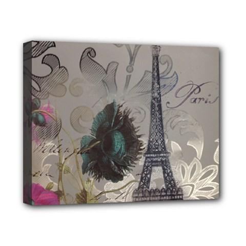 Floral Vintage Paris Eiffel Tower Art Canvas 10  X 8  (framed) by chicelegantboutique