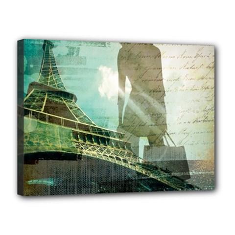 Modern Shopaholic Girl  Paris Eiffel Tower Art  Canvas 16  X 12  (framed) by chicelegantboutique
