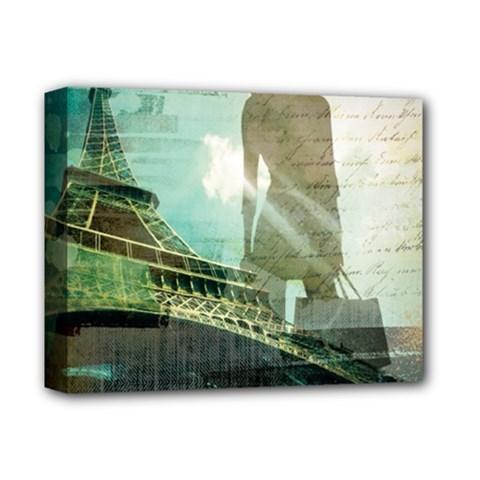 Modern Shopaholic Girl  Paris Eiffel Tower Art  Deluxe Canvas 14  X 11  (framed) by chicelegantboutique